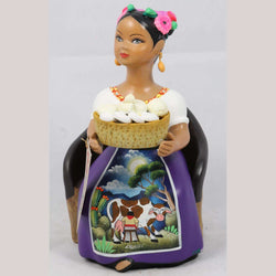 Lupita NAJACO Cheese Basket in Chair Plum Mexican Ceramic Figurine