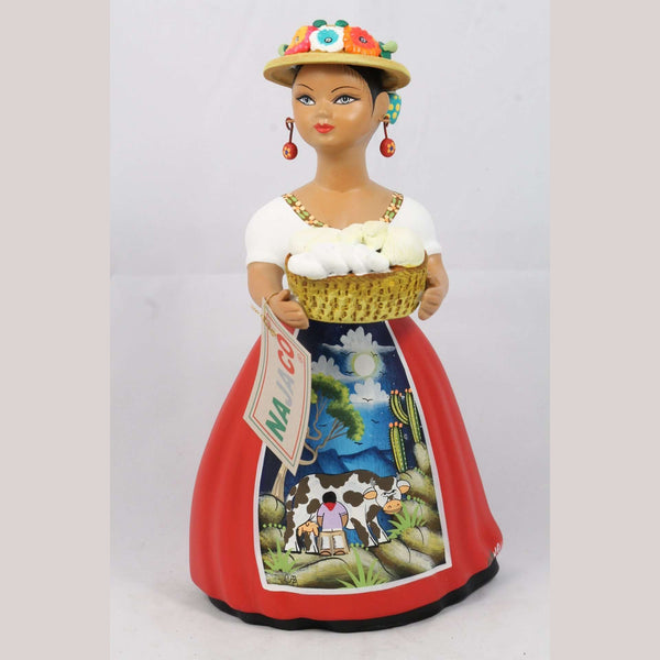 """Lupita"" NAJACO Cheese Basket Red Doll Hat Mexican Ceramic"