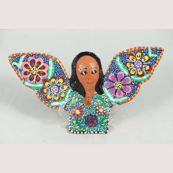 Mexican Hanging Paper Mache Smiling Angel Folk Art Collectible Handmade/Painted
