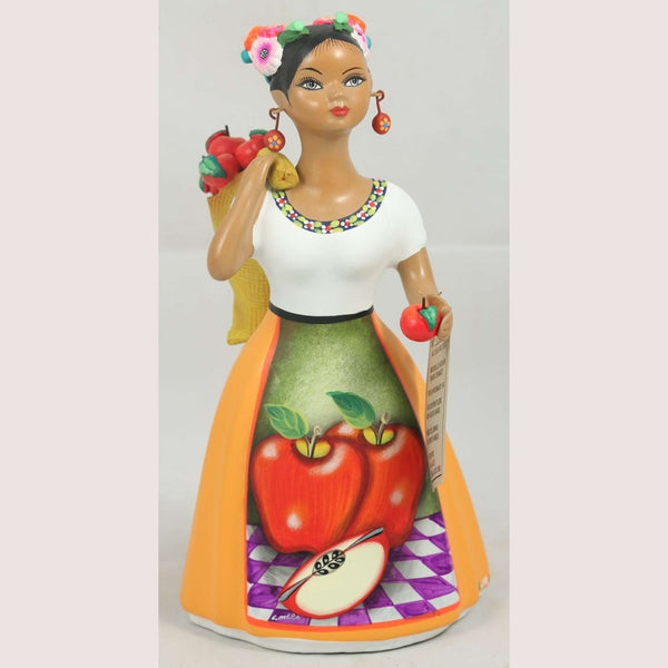"""Lupita"" Najaco Doll Ceramic  Mexican Apple Carry Bag Mustard"