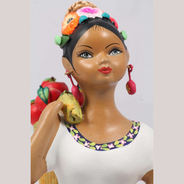 """Lupita"" Doll NAJACO Ceramic Mexican Apple Carry Sack Fuchsia"