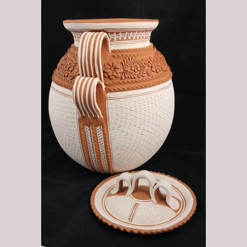 Lg Mexican Ceramic Pot/Vessel Handmade/Painted Folk Art Pottery Neftali Ramirez