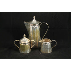 Mexican Antique/Vintage Art Deco 3 piece Silver Plate Coffee Set
