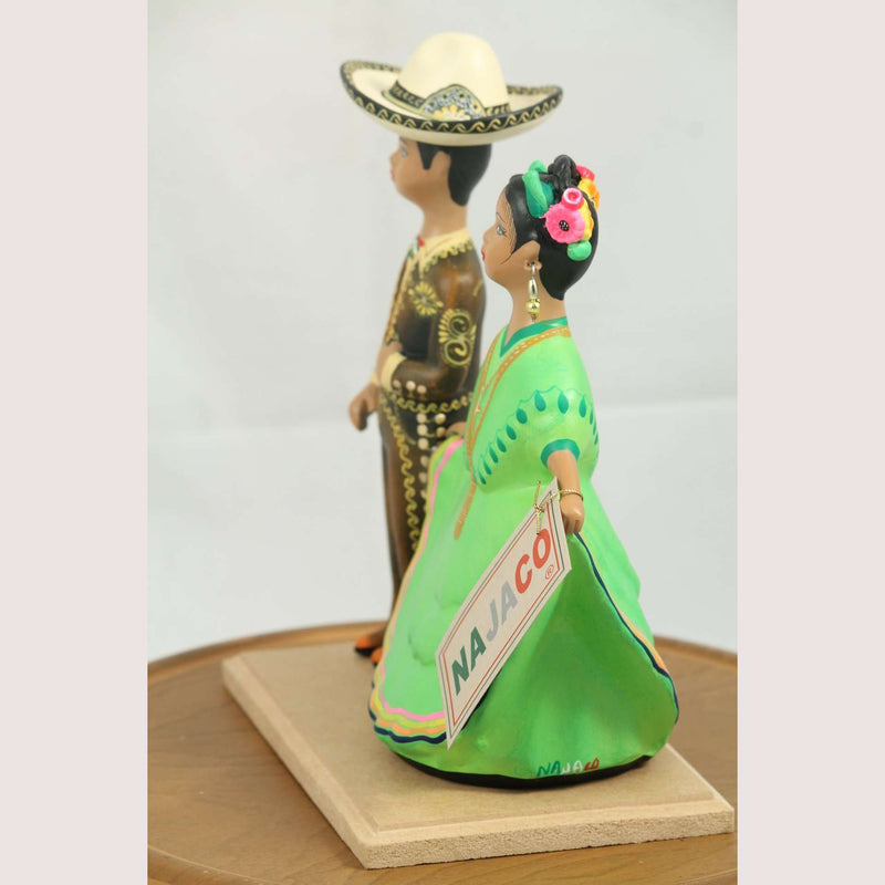 Lupita Najaco Ceramic Mexican Dolls Children Dancers Brown/Lime Green