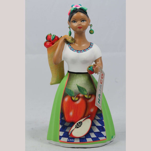"""Lupita"" Doll NAJACO Apple Bag Sack Lime Green Ceramic Mexican"