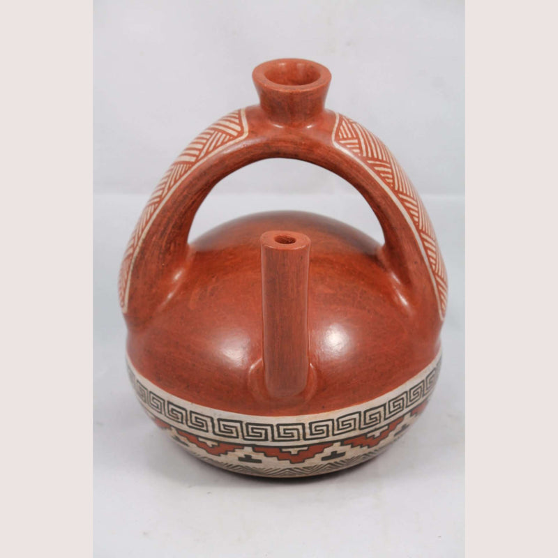 Ceramic Pitcher Hand Made Pottery Mexican Folk Art Potter Signed Huipe Spout