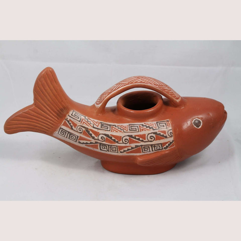 Ceramic Vessel Hand Crafted Pottery Signed Mexican Folk Art Potter Huipe Fish #1