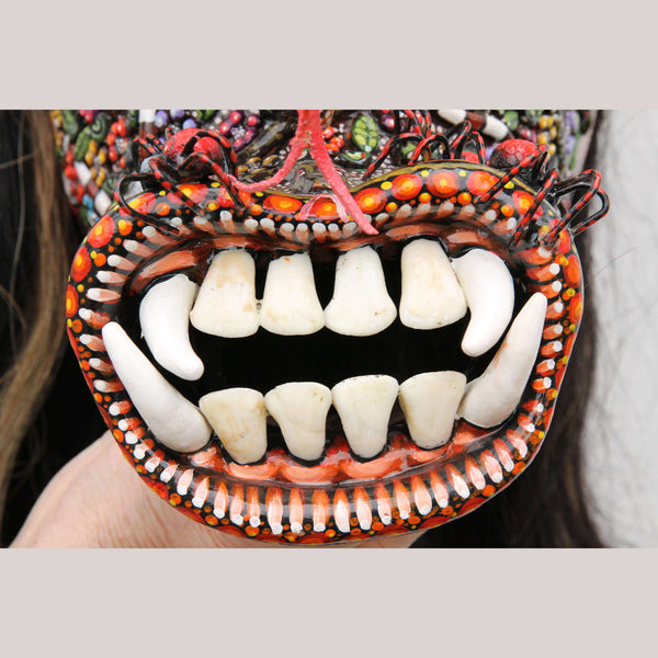 Tastoan Ceramic Hanging Mask Collectible Mexico Fine Folk Art Decor Macias Snake