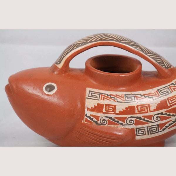 Ceramic Vessel Hand Crafted Pottery Signed Mexican Folk Art Potter Huipe Fish #2