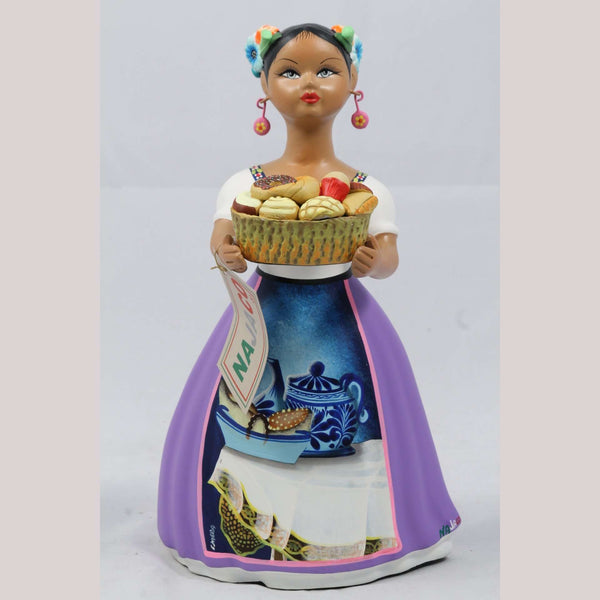 Lupita NAJACO Sweet Bread Basket Lilac Ceramic Doll Figurine Mexican Folk Art