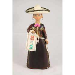 Lupita Doll, Charra, Wine (Tinta), Mexico NAJACO Folk Art Original