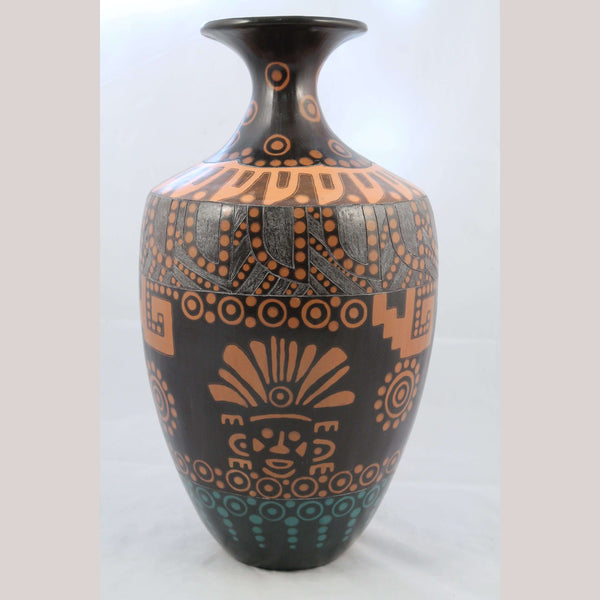 X-Lg Ceramic Vase Handmade Signed Mexican Folk Art R. S. Fiscal Incised Warriors