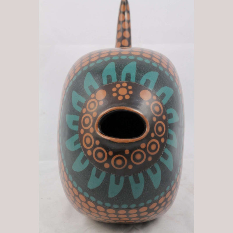 Hand Made Ceramic Hollow Fish Signed Mexican Folk Art Pottery Medium