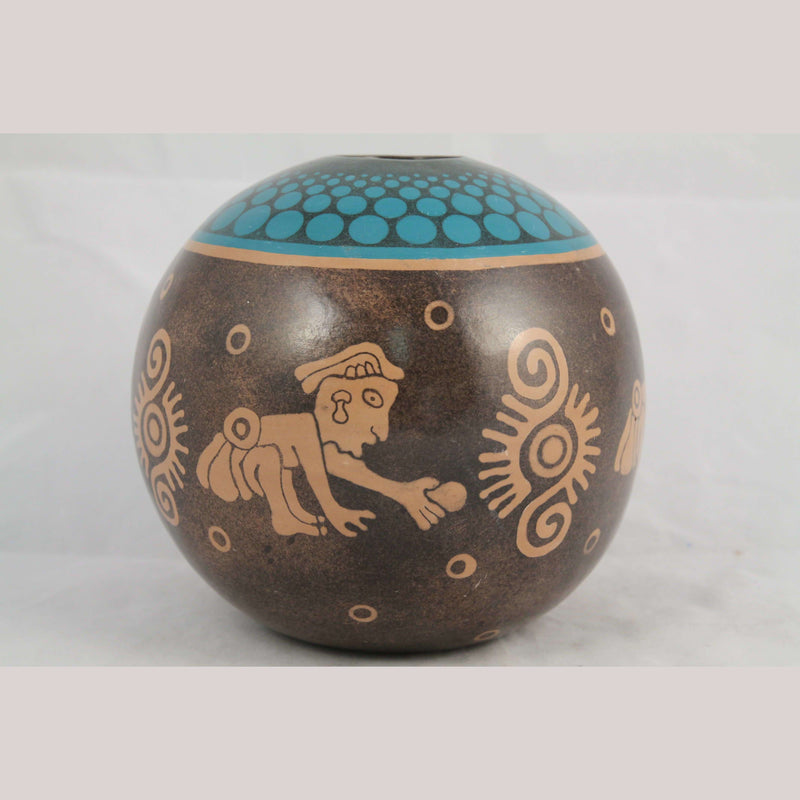 New Round Ceramic/Pottery Vase Mexican Folk Art Solis Signed Pre-Hispanic Men