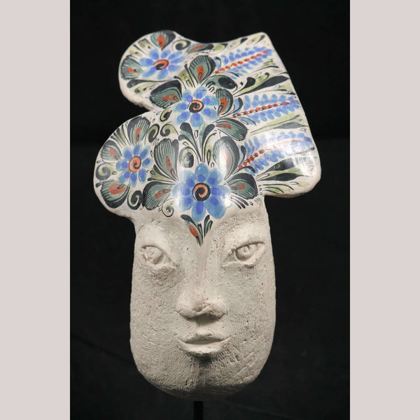 Vntg Ceramic Indigenous Female Head Sculpture Mexico Folk Art T. E. Alvarez #1