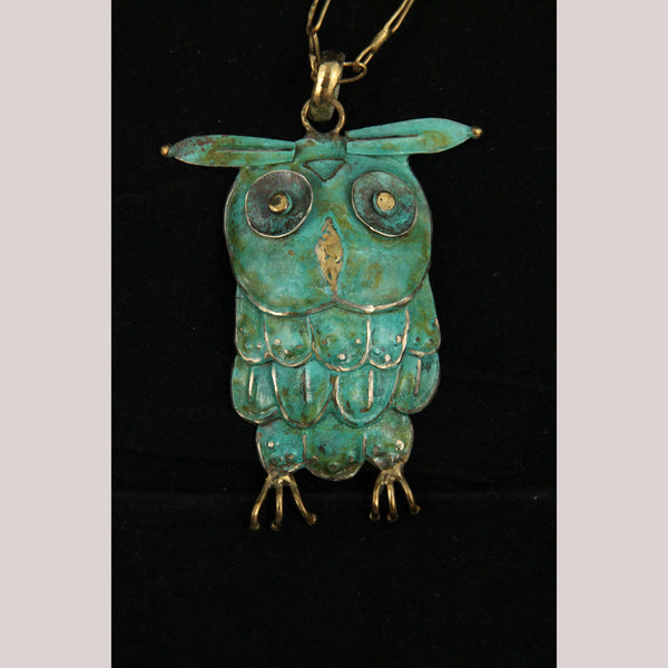 Hand Crafted/Tooled Necklace/Jewelry Mexico Folk Art Bronze Collectible Owl #2