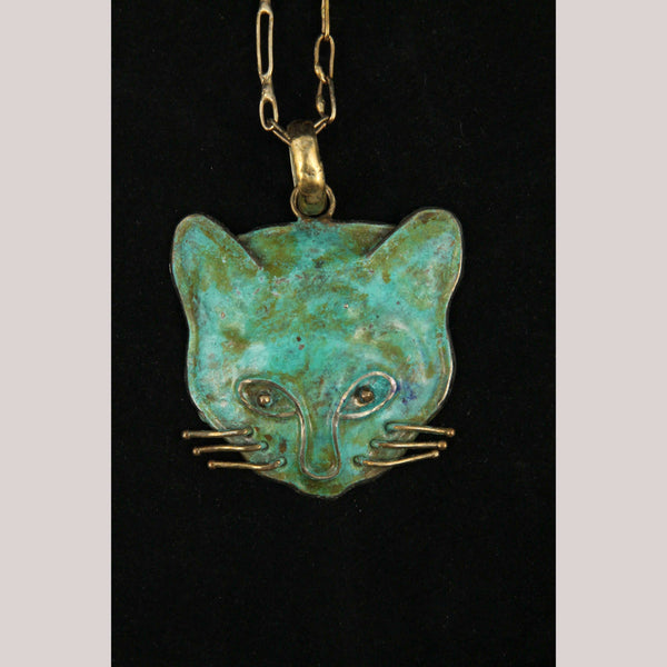 Hand Crafted/Tooled Necklace/Jewelry Mexico Folk Art Bronze Collectible Cat Face