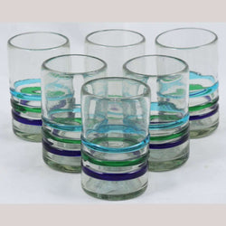 Three Bands of Color, Juice Glasses, Set of 6, Mexican Glassware