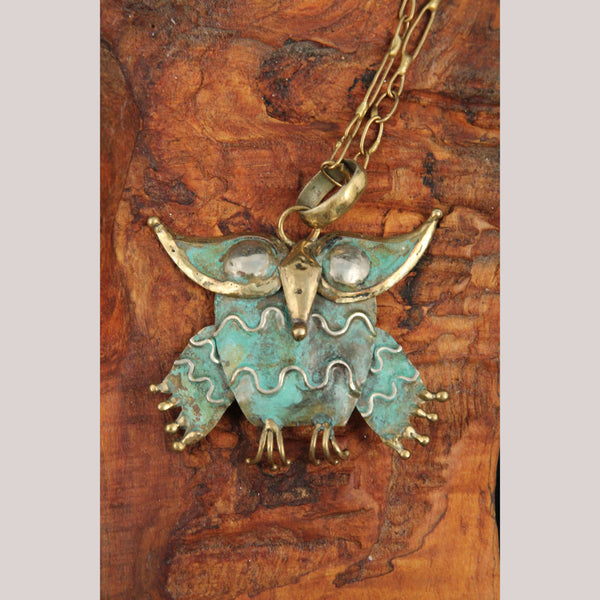 Hand Crafted/Tooled Necklace/Jewelry Mexico Folk Art Bronze Collectible Owl #3