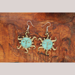 Authentic Hand Crafted Earrings Jewelry Mexican Folk Wearable Art Bronze Suns