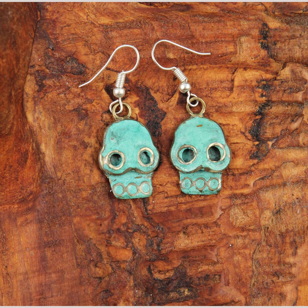 Authentic Hand Crafted Earrings Jewelry Mexican Folk Wearable Art Bronze Skulls