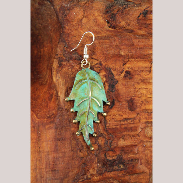 Authentic Hand Crafted Earrings Jewelry Mexican Folk Wearable Art Bronze Leaves