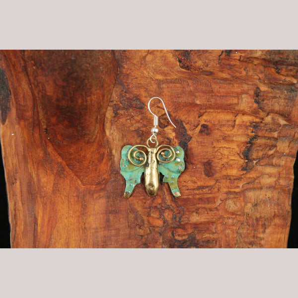 Authentic Hand Crafted Earrings Jewelry Mexican Folk Wearable Art Bronze Butterfly