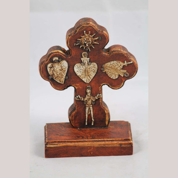 New Wood on Stand Cross/Milagros Mexican Folk Art Hand Made/Painted Religious