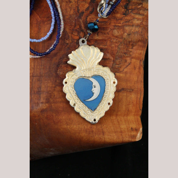 Necklace Jewelry Mexican Folk Wearable Art Metal Heart w 1/2 Moon