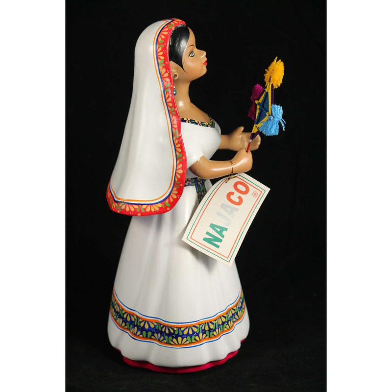 Lupita Najaco Ceramic Doll Mexico Folk Art Collectible Huichola Eye Of God Flag