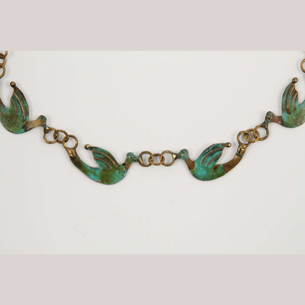 """Small Bronze Doves"" Necklace Mexican Art Custom Jewelry"