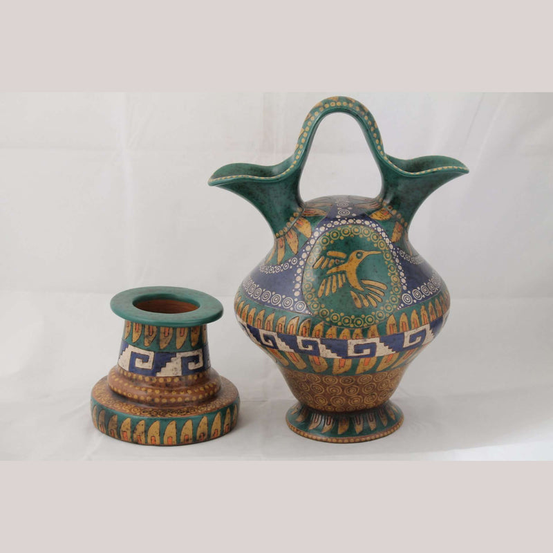 Ceramic 2 Spout Pitcher Master Potter Roberto Fiscal 2 Pieces
