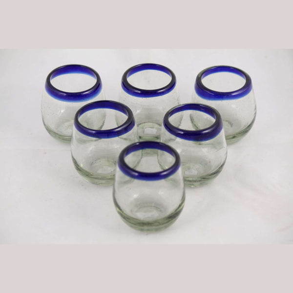 Cobalt Blue Rim Egg Shape Large Shot Glasses Mexican Glassware, Set of 6, Handmade