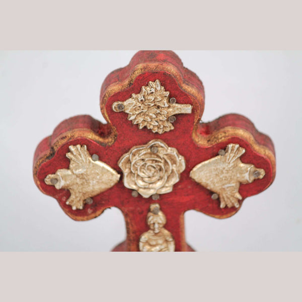 New Wood on Stand Cross/Milagros Mexican Folk Art Hand Made/Painted Gold Rose