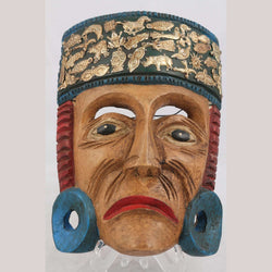 Wood Mask Aztec Gentleman Hand Made Jose Manuel Mejia Blue Top