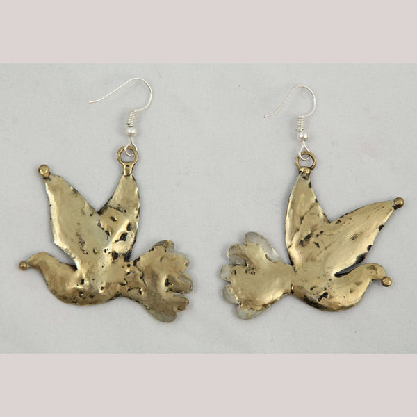 Authentic Hand Crafted Earrings Jewelry Mexican Folk Wearable Art Bronze Doves