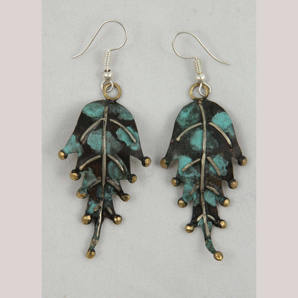 Authentic Hand Crafted Earrings Jewelry Mexican Folk Wearable Art Bronze Leaves #2