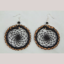 "Earrings Jewelry Mexican Folk Wearable Art ""Dream Catcher"" Rnd Blk"