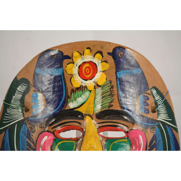 Vintage Mexican Ceramic Hanging Mask Hand Crafted Yellow/Blue