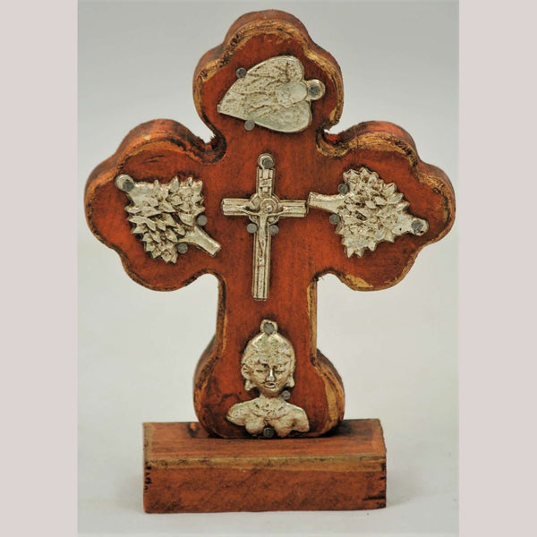 New Wood on Stand Cross/Milagros Mexican Hand Made/Painted Bronze Cross Decor