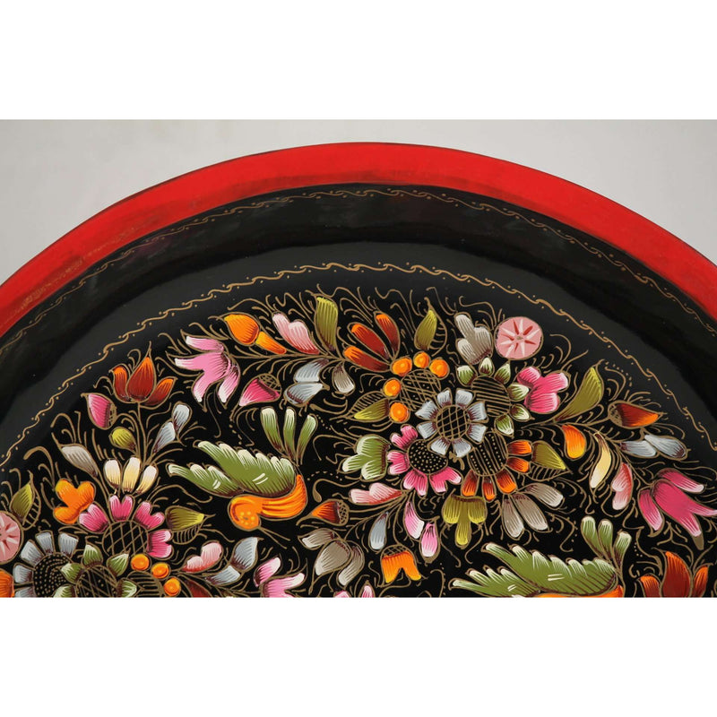 Wood Plate/Lacquer Ware Folk Art Mexico Collectible Decor Award Winning Artisan