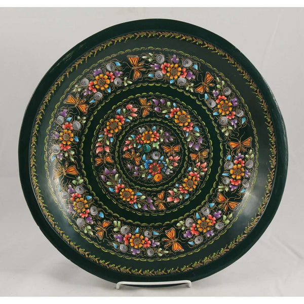 Wood Plate/Lacquer Ware Folk Art Mexico Collectible Award Winning Artisan 13.5""