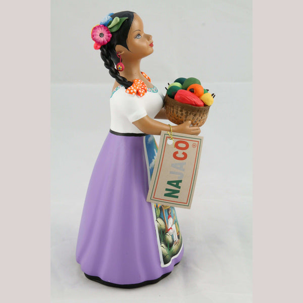 """Lupita"" Najaco Ceramic Doll Figurine Mexican Chilies Basket Lilac"