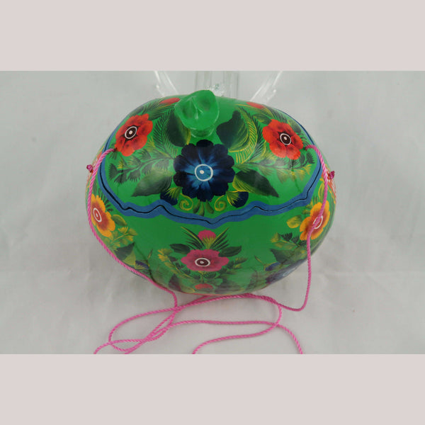 New Gourd Purse/Bag Hand Painted/Made Mexican Folk Art Colorful Collectible #3