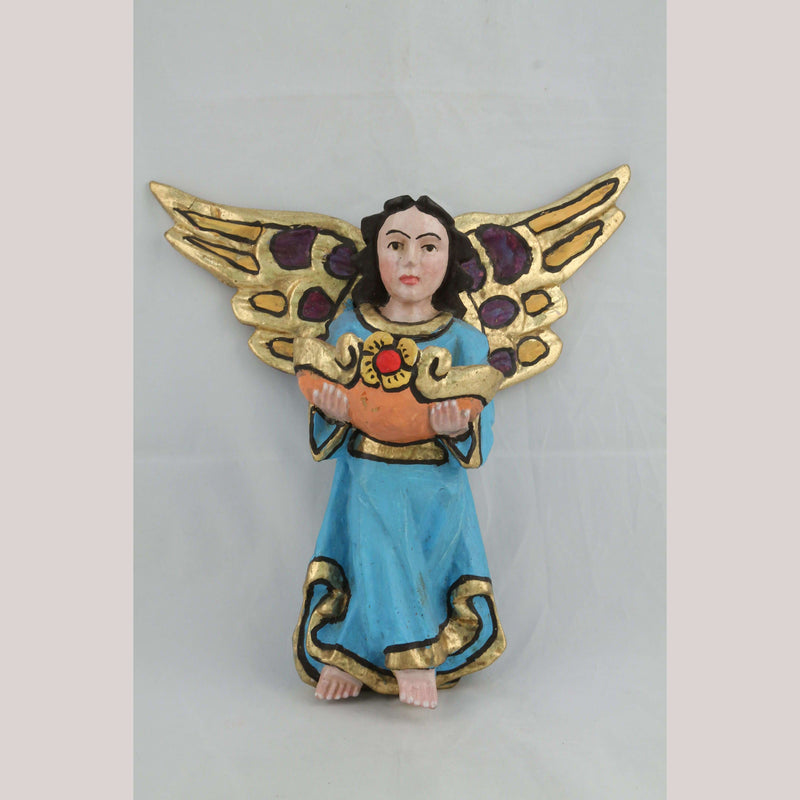 Wood Hanging Angel Mexican Folk Art Decorative Collectible Handmade/Painted Blu