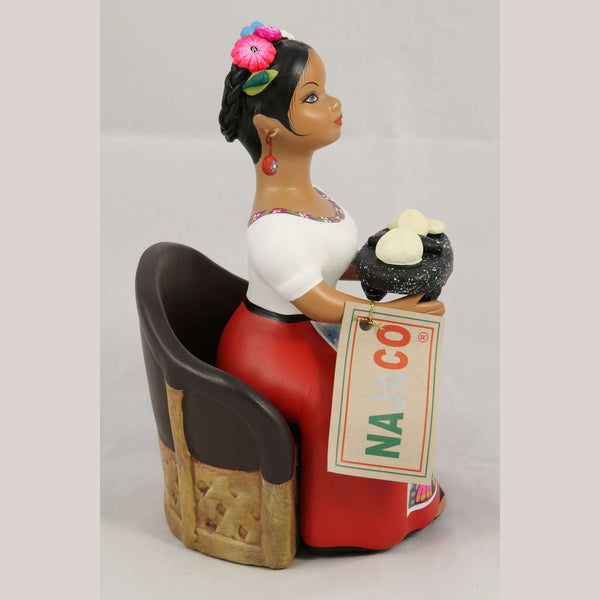 Lupita Doll Gorditas Maker/Chair Ceramic Figurine NAJACO Mexico Folk Art Red