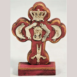 New Wood on Stand Cross/Milagros Mexican Hand Made/Painted Jesus Rose