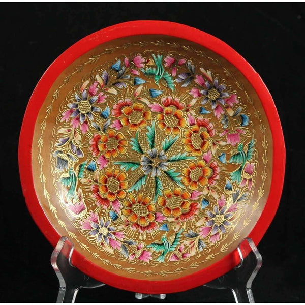 Wood Plate Lacquer Ware 23 Karat Gold Rogelio Alonso Meza Mexico Award Winner Artist