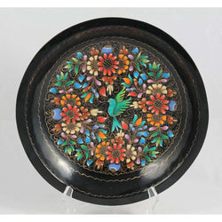 Wood Plate/Lacquer Ware Folk Art Mexico Collectible Award Winner Artisan 11 1/4""
