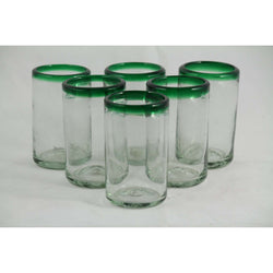 Green Rim Juice Glasses, Set of 6, Mexican Glassware, Glass